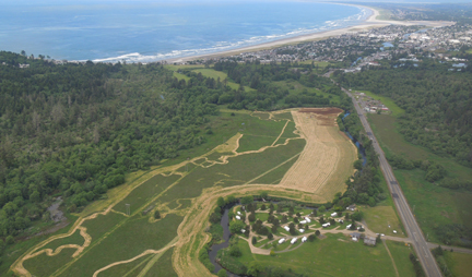 This ariel photo taken by NCLC board member Randall Henderson shows much of the berm removal project area mowed and ready for planting.