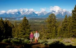 Hiking on Grandview trail near Jackson Lake LodgeModel Released